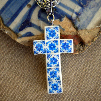 Portugal Porto 1671 AZULEJO CROSS AntiqueTile Replica Necklace (see photo of actual facade) Reversible and Waterproof