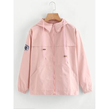 Hooded Patch Detail Zip Up Jacket