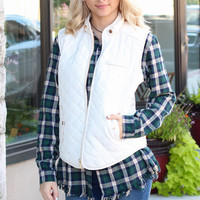 Solid Quilted Vest {Cream}
