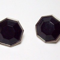 Vintage Japan Black Plastic Octagon Earrings