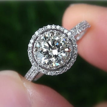 1st payment - 1.00 carat Round - Double Halo - Pave - Antique Style - Diamond Engagement Ring 14K white gold - Bp019