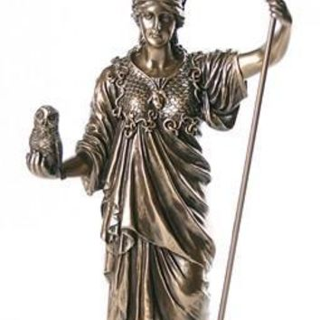 Athena Minerva Greek Roman Goddess of War Holding Owl 14H