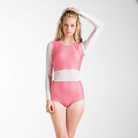 Full sleeve rash guard and high waist bottom - Two piece -Gingham