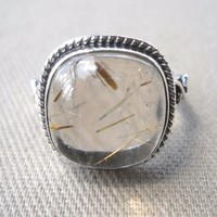 925 Sterling Silver Rutilated Quartz Ring