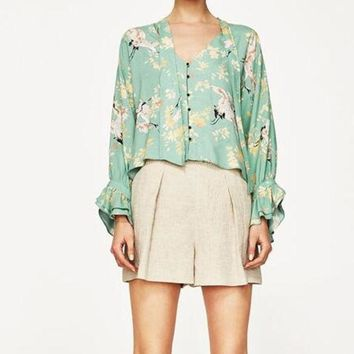 Wishbop 2017 Summer Mint Green Floral Animal Printed Shirt Blouse V Neck With Bow Long Sleeved Frills Cuffs Front Buttons Up