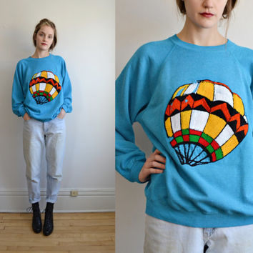 80s HOT AIR BALOON needlepoint sweater // teal blue fuzzy novelty printed soft raglan hipster  oversize slouchy pullover sweatshirt top