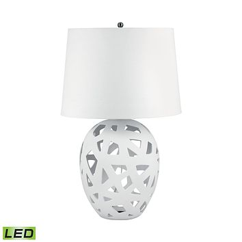 324W-LED Open Work Bisque Ceramic LED Table Lamp In White