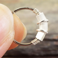 18 or 20 Gauge White Opalescent Iridescent Nose Hoop Ring or Cartilage Hoop Earring