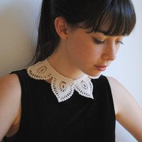 Custom Made Crochet Lacelike Shirt Collar Ecru White by twoknit