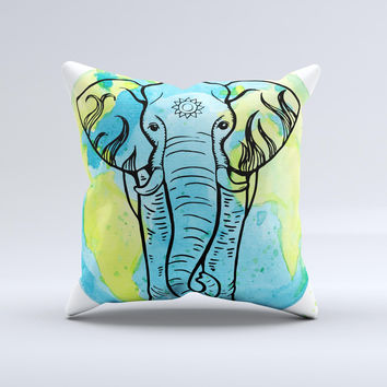 The Worldwide Sacred Elephant ink-Fuzed Decorative Throw Pillow