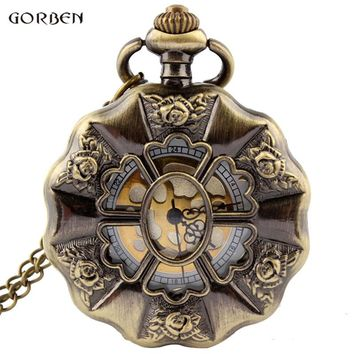 Vintage Bronze Rose Flower Full Steel Steampunk Pocket Watch With FOB Chain Unique Hollow Skeleton Mens Womens Pocket Watch Gift