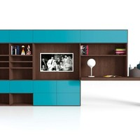 Sectional lacquered storage wall SPALLA G138 Spalla Collection by Novamobili