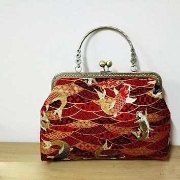 DIY fabric women handbag female handmade fabric bag material pack butterfly japanese wave chinese red-crowned crane design
