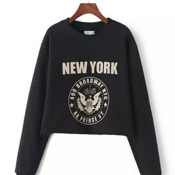 Black Graphic Print Cropped Sweater