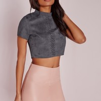 Missguided - Stitch Front Faux Suede Crop Top Slate Grey