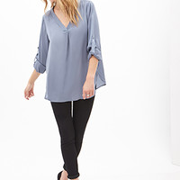 LOVE 21 Sateen V-Neck Dolphin Blouse Dusty Blue