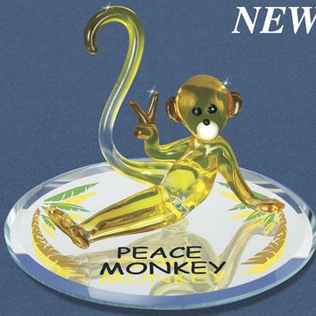Glass Baron Yellow Peace Monkey Figurine