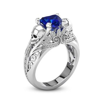 Heart CZ Crystal Silver Color Skull Promise Rings for Women Fashion Jewelry Wedding Engagement Punk Rings Gifts