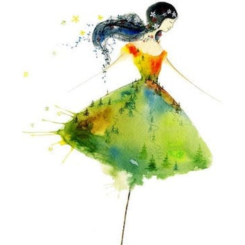 The Twist - Art Print dancing umbrella girl spirit ballet dancer woman rain forest fashion sketch design wall gift watercolor Oladesign 5x7