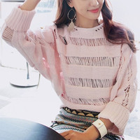 Pink Cut Out Long Sleeve Sweater