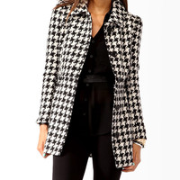 Houndstooth Fit & Flare Coat