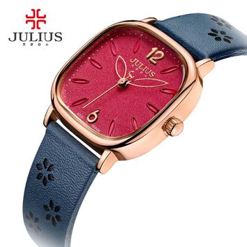 JULIUS Square Face Red Dial Flower Design Women Watches Leather Strap Montre Femme Vintage Watch for Girls