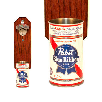 Pabst Blue Ribbon Wall Mounted Bottle Opener with Vintage PBR Beer Can Cap Catcher - Man Cave Idea