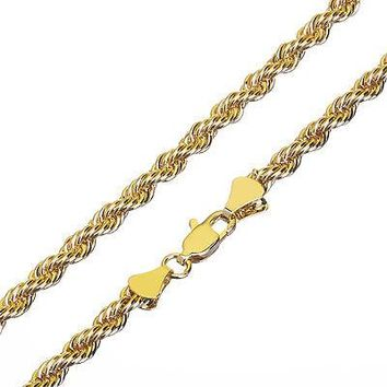 Jewelry Kay style Fashion Solid 14K Yellow Gold Plated Thin Short 3.5 mm Rope Chain Necklace 20""