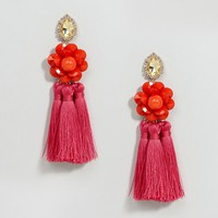 ASOS Resin Flower Tassel Drop Earrings at asos.com