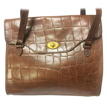 Vintage Mulberry brown croc embossed brown leather shoulder tote bag.  Unisex use from Roger Soul c6c79821c54d2