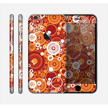 The Abstract Vector Gold & White Circle Swirls Skin for the Apple iPhone 6