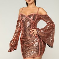 Cheers To You Sequin Dress - Rust