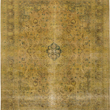 """9'7"""" x 12'8"""" Green Vintage Persian Overdyed Rug"""