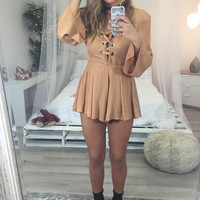 Heart On My Sleeve Sand Stone Bell Sleeved Romper