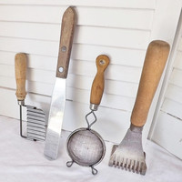 Vintage Wood Handle Kitchen Utensils