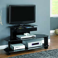 """Glossy Black Wood and Metal 48""""L TV Console with Tempered Shelves"""