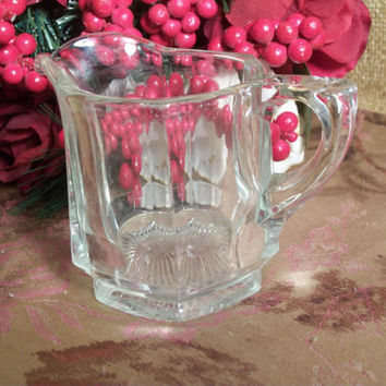 Vintage Creamer Clear Glass Pitcher Hexagon Six Sided Heavy Depression Glass Glass Serving Tableware  Collectible  Home Decor Glassware