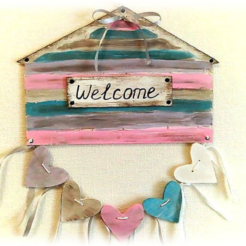 Wall decor - home decor in handmade - wall art - sign - welcome sign - wall hanging - door decor - pastel in handmade