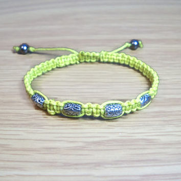 Macrame Beaded Bracelet Yellow Macrame Bracelet Adjustable Bracelet