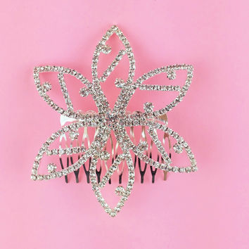 Flower Shaped Crystal Hair Comb