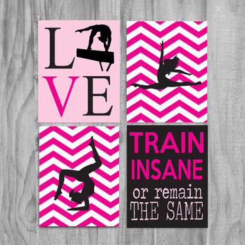 Girls Gymnastics Art, Cute Personalized Gymnastics Gifts and Gymnastics Wall Art- silhouette-pink and black, train insane quote
