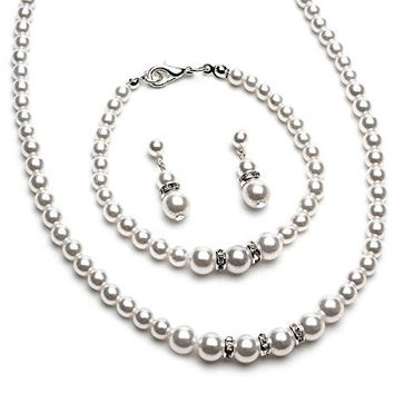 3 Piece Faux White Classic Pearl Bridesmaid Bridal Necklace, Earring, Bracelet W Crystal Silver Tone CF1