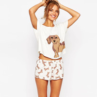 Add Pink Loose Pajama Sets Women Cotton Cute Dachshund Dog Print 2 Pieces Set Crop Top + Shorts Elastic Waist Plus Size S6706