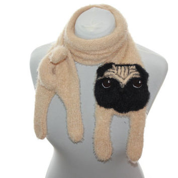 Knitted Pug scarf / Fuzzy Soft Scarf / dog scarf / knit dog scarf / animal scarf