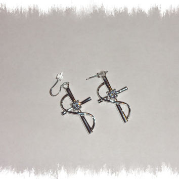 Silver Cross Crystal Dangle Earrings Jewelry For Her
