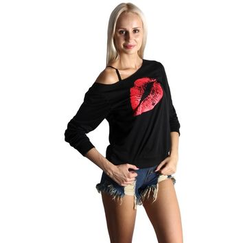 Sexy Red Lip Print T Shirt Women One Shoulder Plus Size T-shirt Long Sleeve Casual Loose Summer Tshirt Top Camisetas Mujer Black