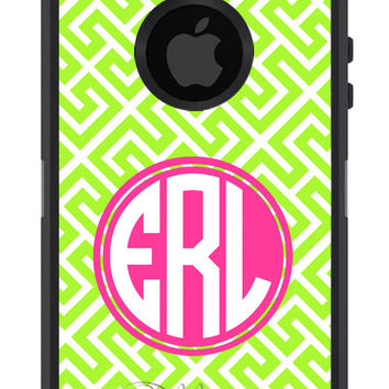OTTERBOX COMMUTER Greek Key Trellis pattern Design Any Color Personalized Monogram for iPhone 5 5S 4 4S Samsung
