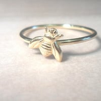 Tiny Bee Knuckle Ring-Layering Above the Knuckle Ring Gold Brass Stackable Midi Ring