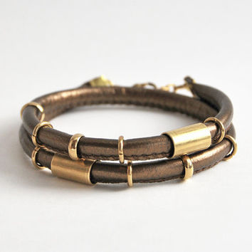 Dark gold wrap bracelet with tubes, PU leather bracelet, cord bracelet