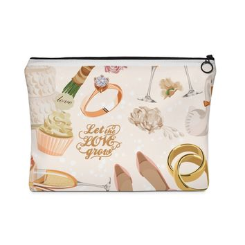Let Love Grow Wedding Bridesmaid Carry All Pouch - Flat